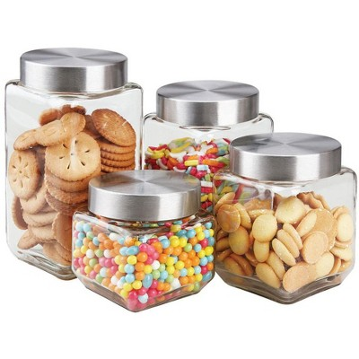 Home Basics 4 Piece Canister Set with Stainless Steel Lids