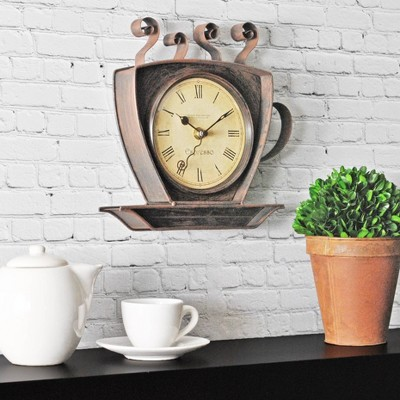 Coffee Cup Wall Shaped Wall Clock Oil Rubbed Bronze - FirsTime