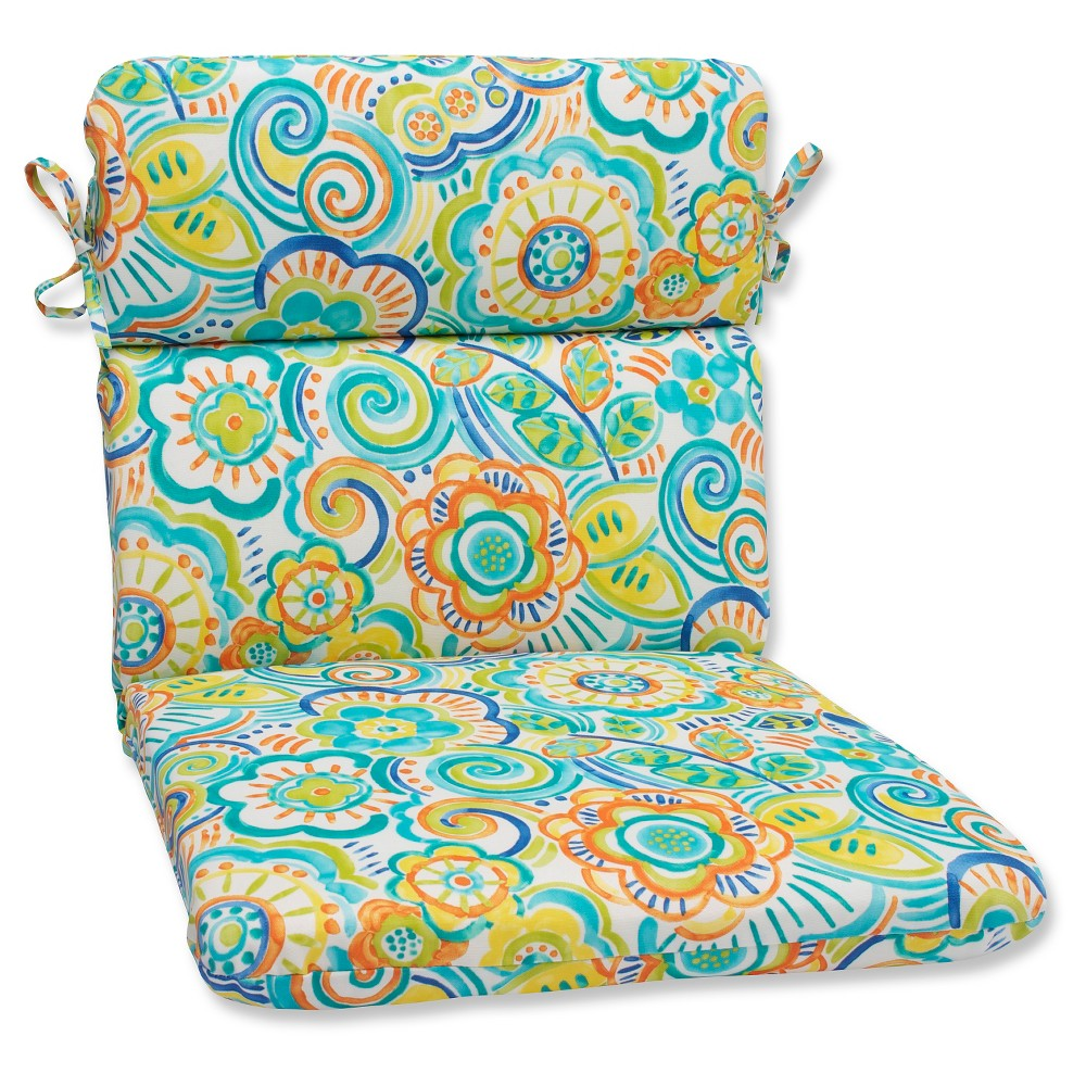 Pillow Perfect Bronwood Outdoor Rounded Edge Chair Cushion - Multicolored, Blue