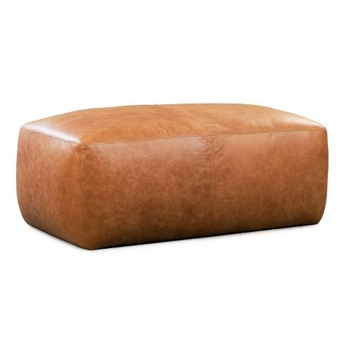Maine Leather Ottoman Cognac Tan - Poly & Bark - image 1 of 4