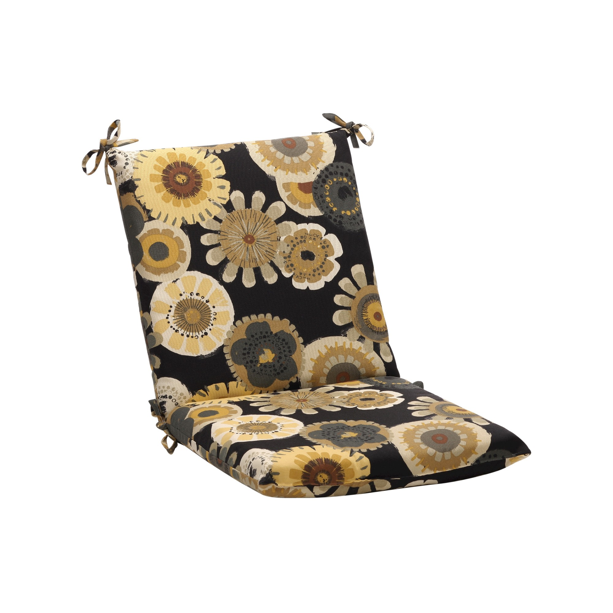Outdoor Chair Cushion - Black/Yellow Floral