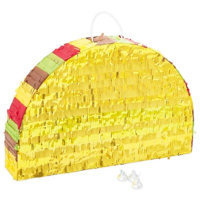 Taco Party Pinata for Cinco De Mayo, Mexican Fiesta Party Supplies, Kids Birthday, Small 17 x 10.8 inches