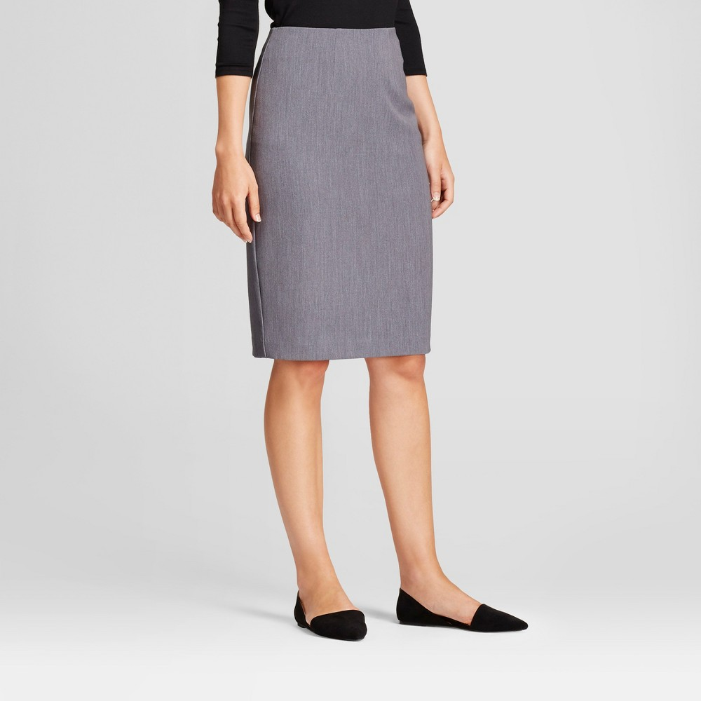 Image of Women's Bi-Stretch Twill Pencil Skirt - A New Day Heather Gray 18, Grey Gray