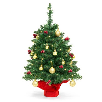 Best Choice Products 22in Pre-Lit Tabletop Artificial Christmas Tree w/ LED Lights, Berries, Ornaments