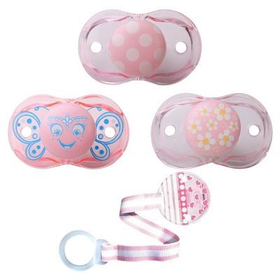 Razbaby® 3 Girls Pacifiers & 1 Pacifier Holder