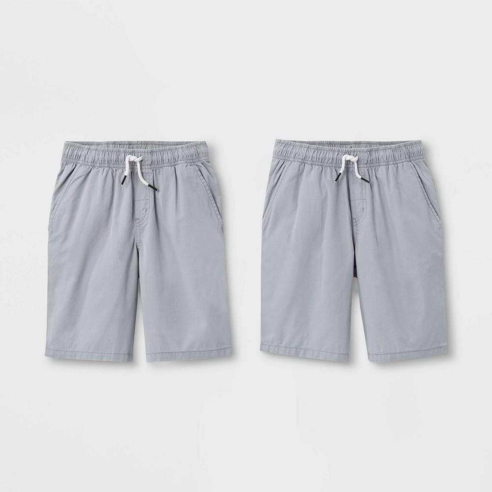 Boys 39 2pk Pull On Woven Shorts Cat 38 Jack 8482 Gray Gray Xs