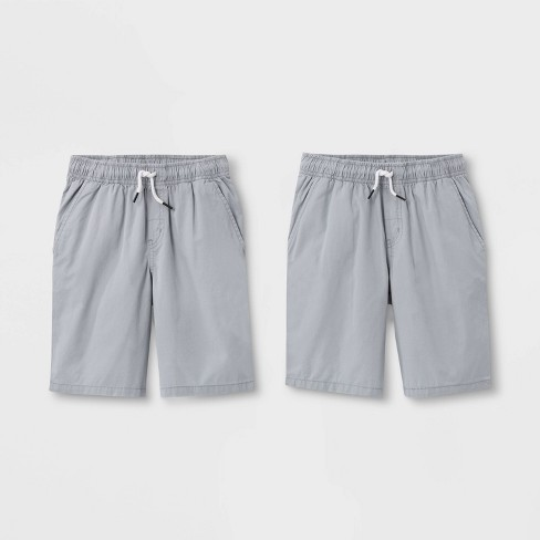 Boys' 2pk Pull-On Woven Shorts - Cat & Jack™ Gray/Gray - image 1 of 2