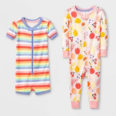 Baby Girls' 2pk Fruit 100% Cotton Footed Pajama - Cat & Jack™ Pink 12M