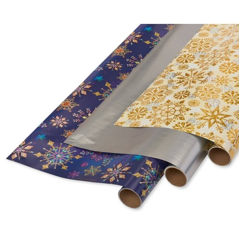 Papyrus Jewel Tone and Holographic Snowflakes Gift Wrap Silver - image 1 of 4