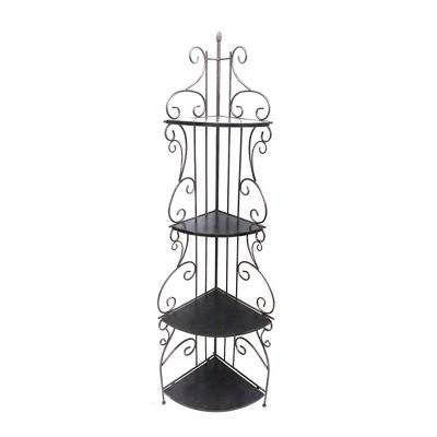 "73.75"" 4 Wooden Shelves with Scrollwork Design Metal Corner Bookcase Black/Copper - Benzara"