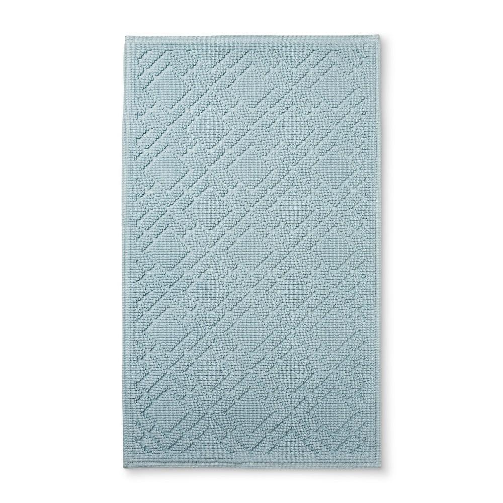 "Image of ""34""""x20"""" Lattice Bath Mat Light Blue - Fieldcrest"""