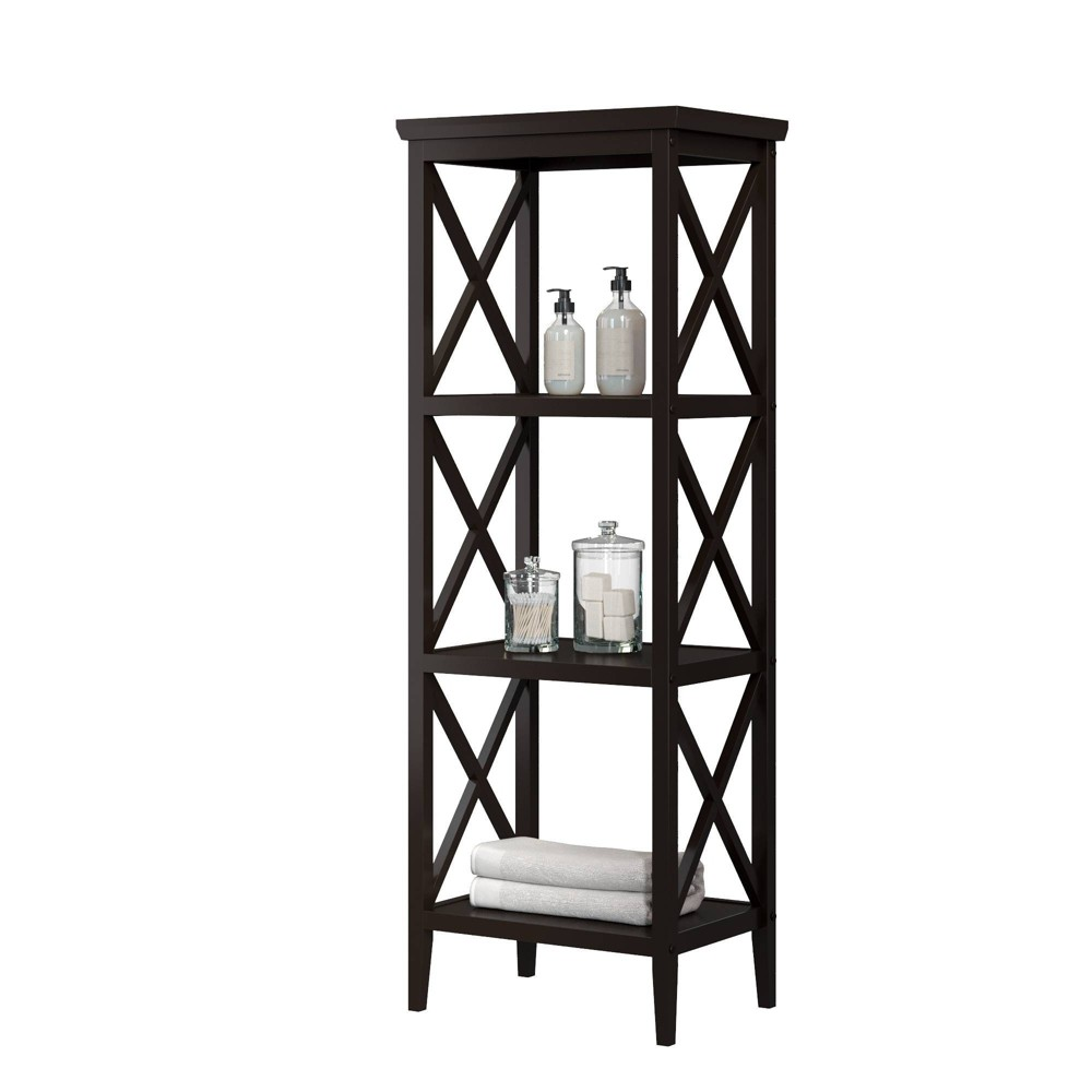 Image of 4 Shelf Cross Frame Etagere Tower Espresso Brown