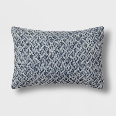 Chunky Knit Lumbar Throw Pillow Blue - Threshold™