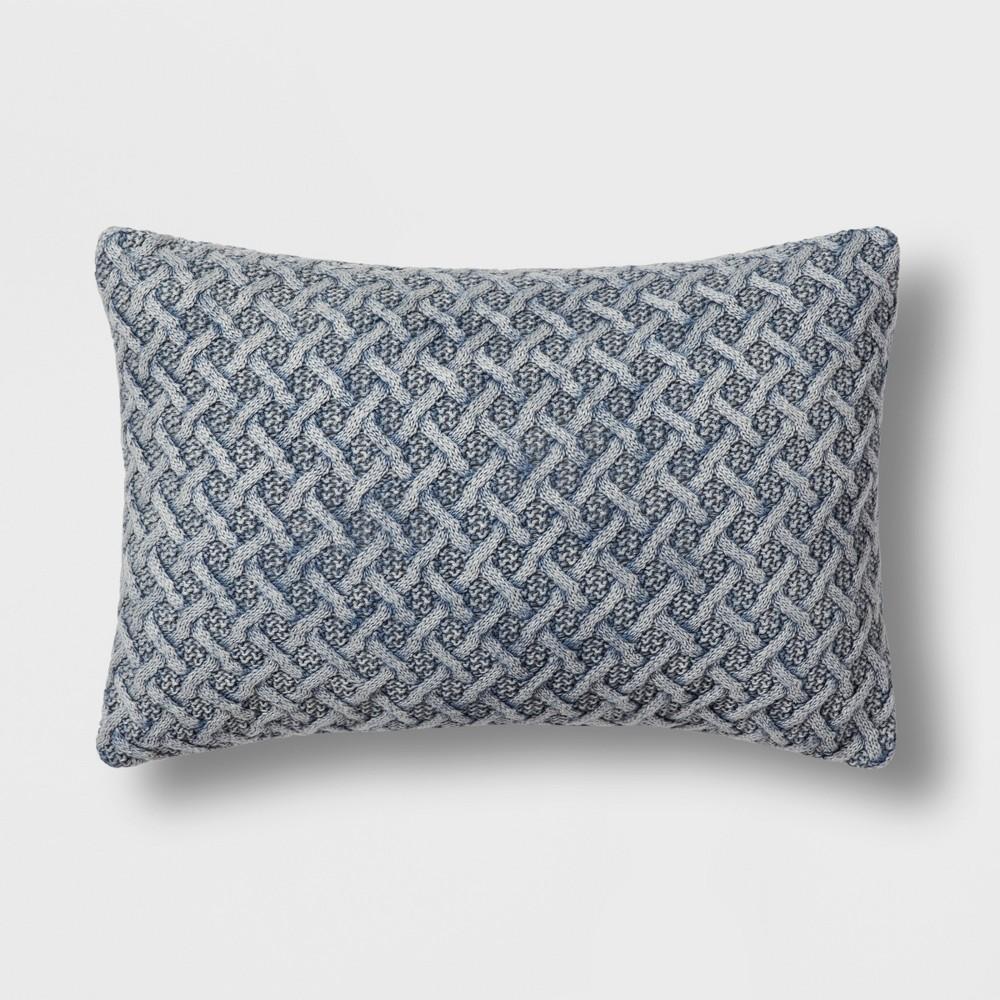 Chunky Knit Lumbar Throw Pillow Blue - Threshold