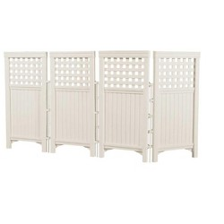 Suncast FS4423T Outdoor Steel and Resin 4 Panel Screen Yard Enclosure, Taupe