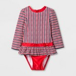 01f3e1df12e0f Baby Girls' Long Sleeve One Piece Swimsuit - Cat & Jack™ Red