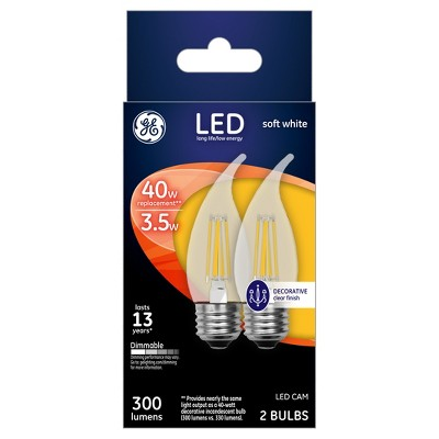 General Electric LED 40w 2Pk Decorative CAM Light Bulb White/Clear