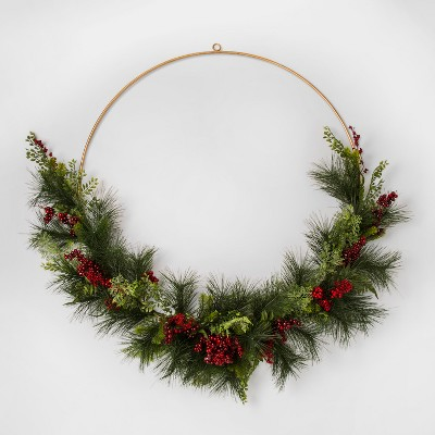 Wreath Gold Wire with Red Berry Pine - Threshold™