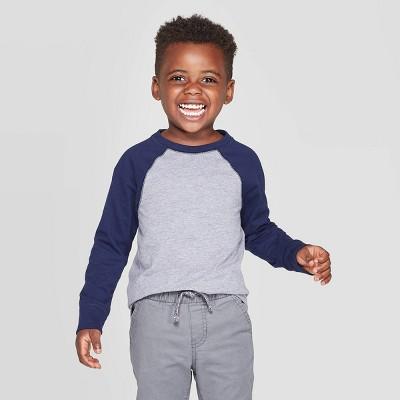 Toddler Boys' Long Sleeve Baseball T-Shirt - Cat & Jack™ Navy/Gray 4T