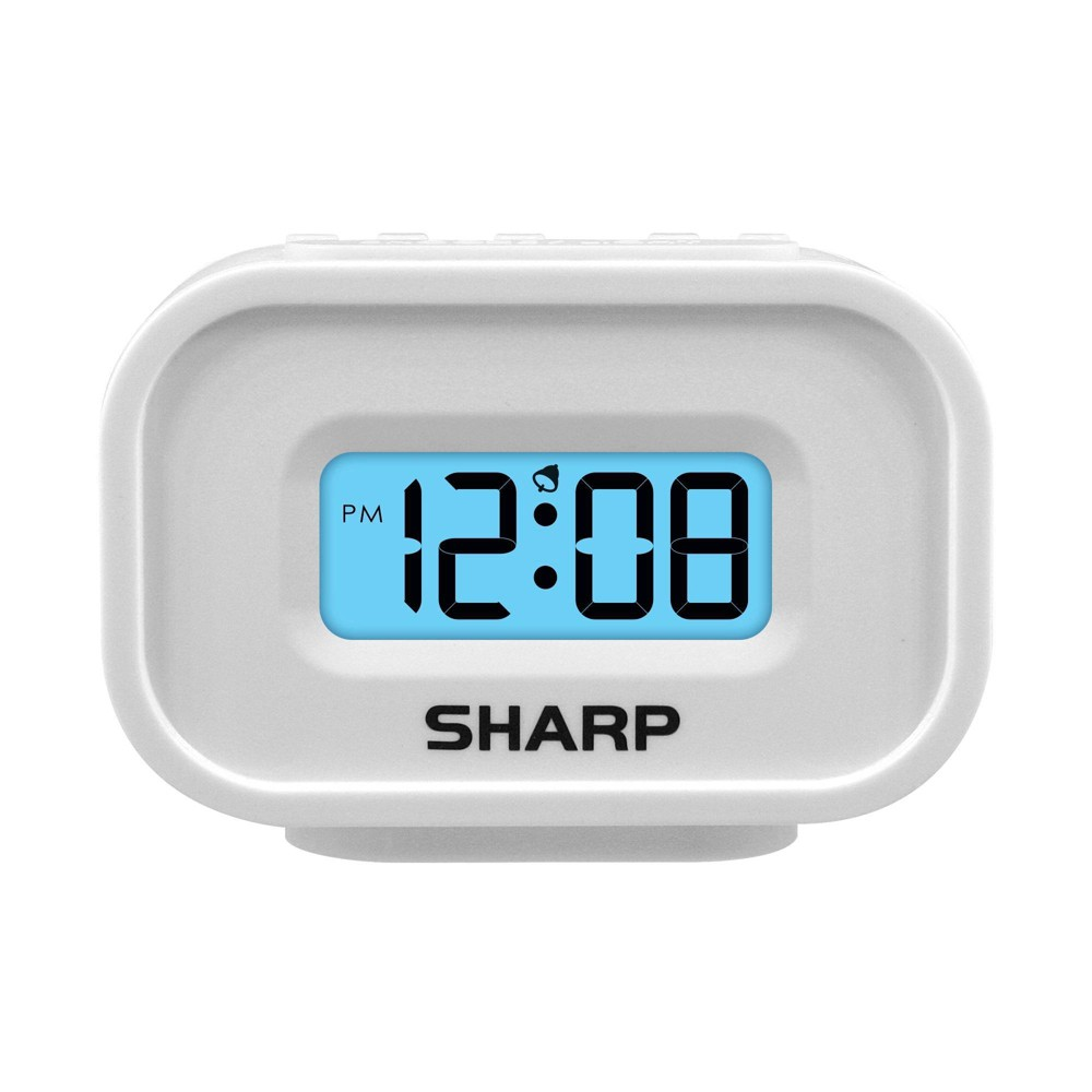 Image of Compact Battery Operated Digital Alarm Clock White - Sharp