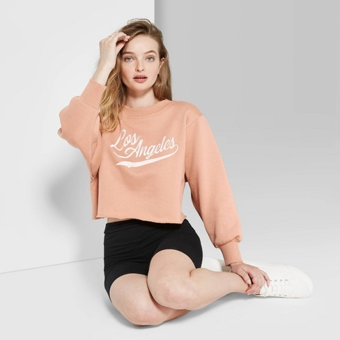 Women's Crewneck Los Angeles Cropped Sweatshirt - Wild Fable™ Honey - image 1 of 3