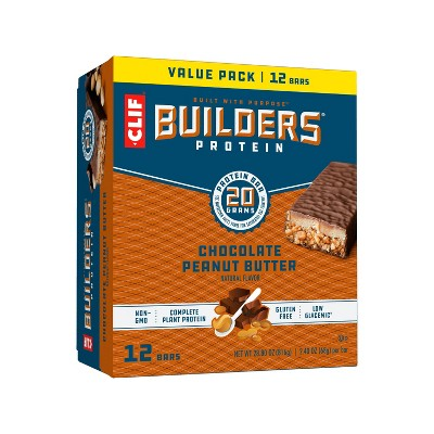 CLIF Builders Protein Bars - Chocolate Peanut Butter - 20g Protein - 12ct