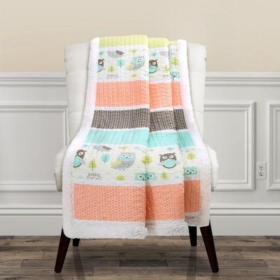 "50""x60"" Owl Striped Sherpa Throw Blanket Coral - Lush Décor"