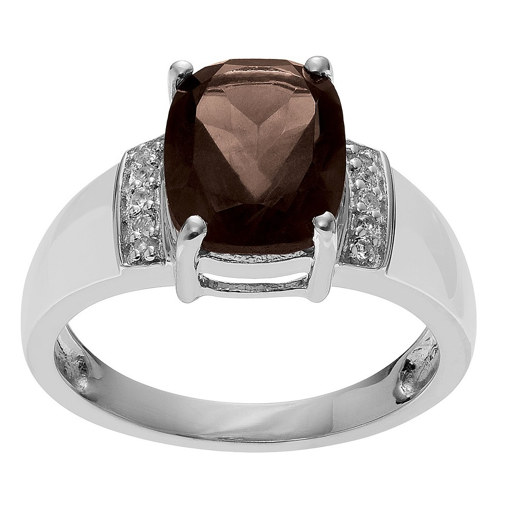 2 5/8 CT. T.W. Radiant-Cut Topaz Accent Prong-Set Ring in Sterling Silver - Brown (5), Girl's