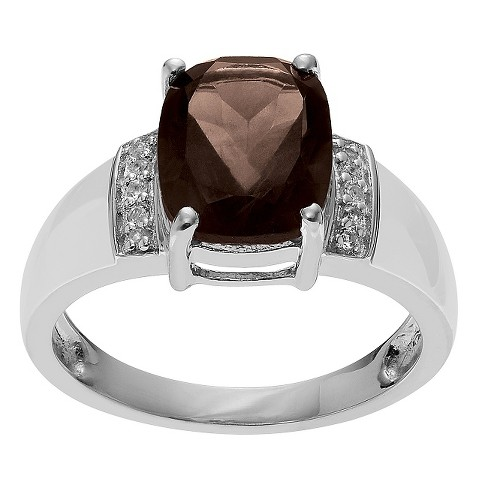 2 5/8 CT. T.W. Radiant-Cut Topaz Accent Prong-Set Ring in Sterling Silver - Brown - image 1 of 2