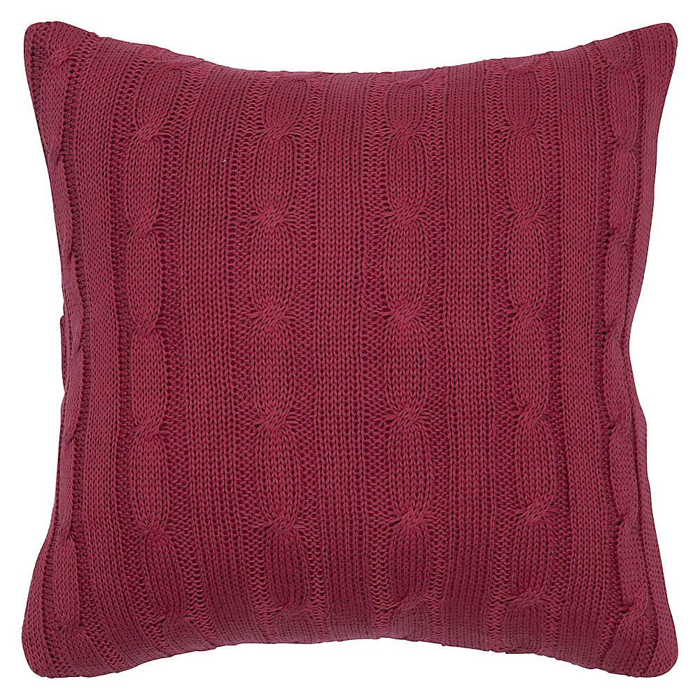 "Image of ""Red Sweater Knit Throw Pillow 18""""x18"""" - Rizzy Home"""
