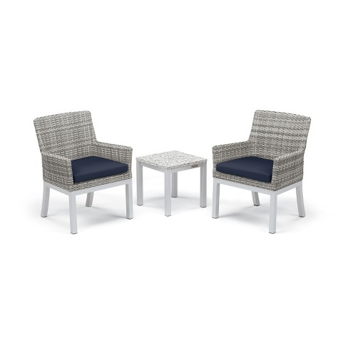 Travira 3pc Patio Conversation Set with End Table - Argento Wicker - Ash Tabletop - Oxford Garden - image 1 of 3