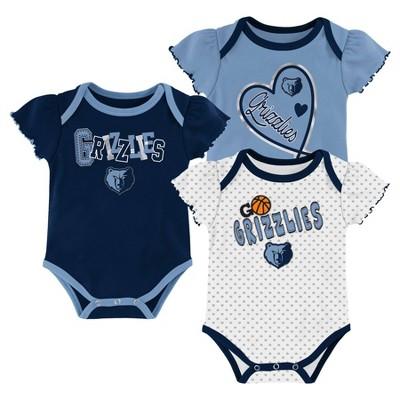 NBA Memphis Grizzlies Girls' Draft Pick Body Suit Set 3pk - 0-3M