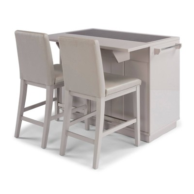 Linear II Kitchen Island & 2 Stools Gray - Home Styles