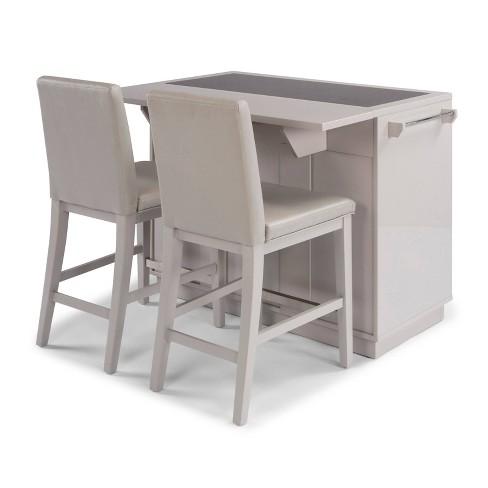 Linear II Kitchen Island & 2 Stools Gray - Home Styles