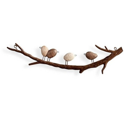 Wind & Weather Four Faux River Rock Birds on a Metal Branch Wall Art
