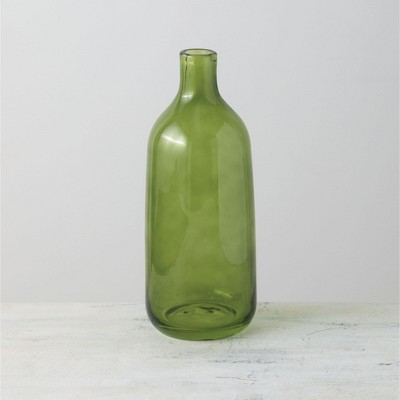 "Sullivans Glass Bottle Vase 10.75""H Green"