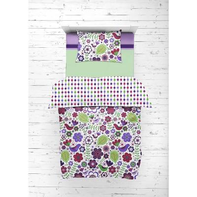 Bacati - Botanical Floral Birds Purple Multicolor 4 pc Toddler Bedding Set