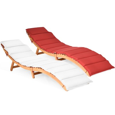 Costway 2 PCS Folding Wooden Outdoor Lounge Chair Chaise Red/White Cushion Pad Pool Deck