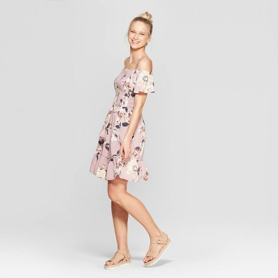 view Women's Floral Print Short Sleeve Off The Shoulder Smocked Top Dress - Xhilaration Mauve on target.com. Opens in a new tab.