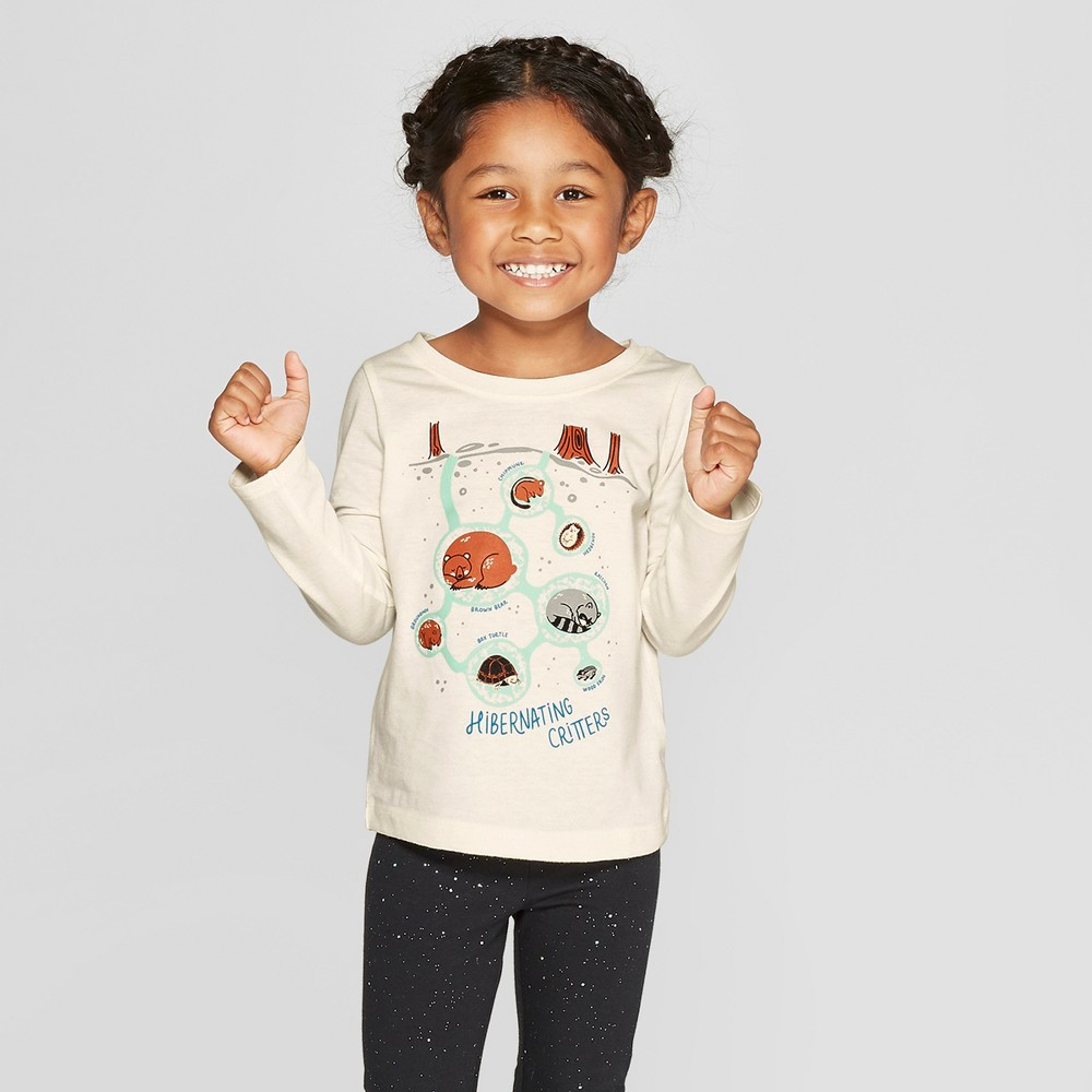 Toddler Girls' Long Sleeve 'Critters' Graphic T-Shirt - Cat & Jack Cream 12M, White