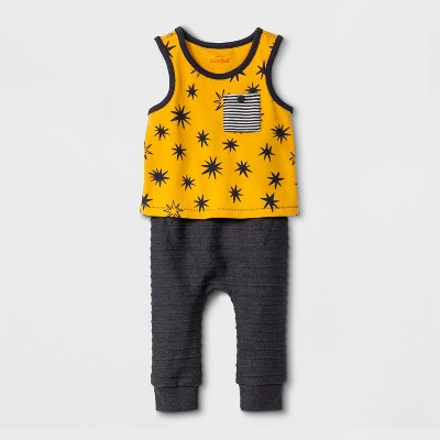 Baby Boys' 2pc Sleeveless T-Shirt and Joggers with Kangaroo Pocket Set - Cat & Jack™ Yellow/Gray 6-9M