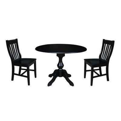"42"" Round Pedestal Drop Leaf Table with 2 Chairs - International Concepts"