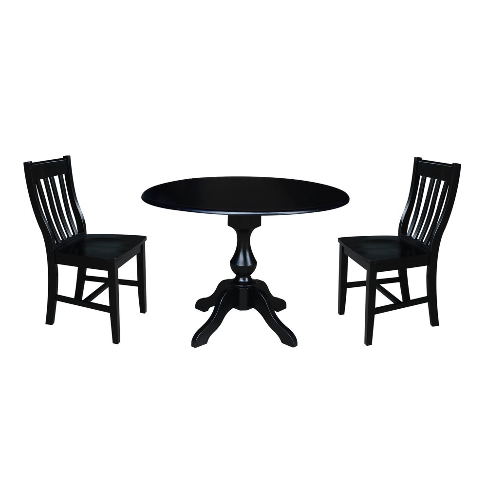"Image of ""29.5"""" Round Top Pedestal Table with 2 Chairs Black - International Concepts"""