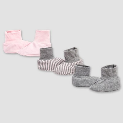 Burt's Bees Baby® Girls' Organic Cotton 3pk Booties Set - Blossom 6-9M