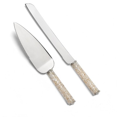 Mother of Pearl Serving Set Silver