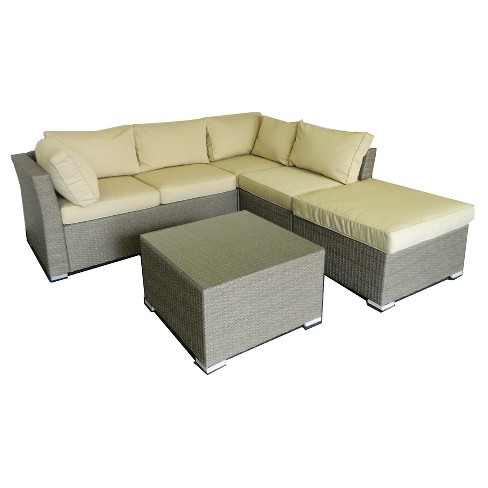 The Hom Jicaro 5 Piece Wicker Patio Sectional Sofa Set Natural