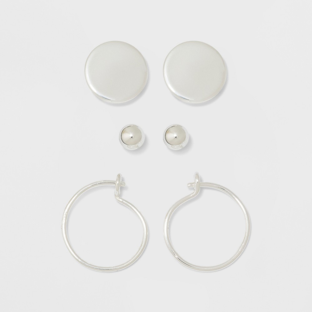 Image of Ball, Flat Circle, and Hoop Earring Set - A New Day Silver, Women's, Size: Small