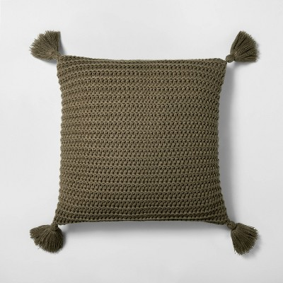 "18"" x 18"" Chunky Knit Decor Pillow Dark Green - Hearth & Hand™ with Magnolia"
