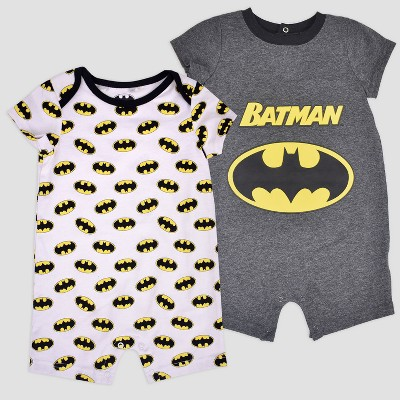 Baby Boys' 2pk DC Comics Batman Romper - Gray 0-3M