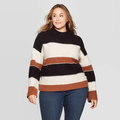 Women's Plus Size Striped Long Sleeve Mock Turtleneck Pullover Sweater - Universal Thread™ - image 1 of 3